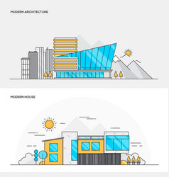 flat line color concept- modern architecture and vector image