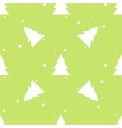 Forest fir tree and snow green seamless pattern vector