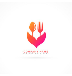Fork and spoon beautiful logo vector