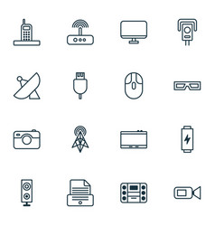 Gadget icons set collection of switch cctv vector