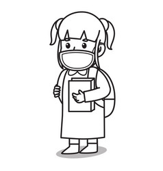 girl after school holding a book cartoon using vector image