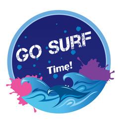 Go surf time wave circle frame background i vector