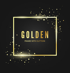 golden frame template with glitter effect for vector image