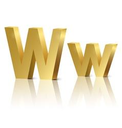 Golden letter w vector