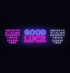 good luck neon sign good luck design vector image