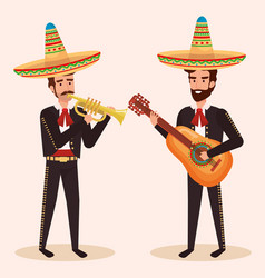 Group mexican mariachis with instruments vector