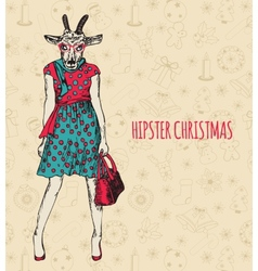 Hand drawn goat woman Hipster Christmas greeting vector