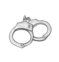 handcuffs hand drawn vector image