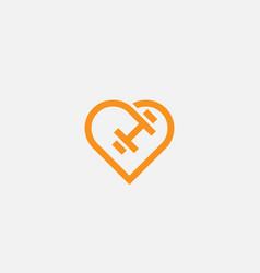 heart dumbbell logotype love sport fitness vector image