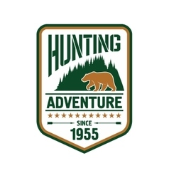 Hunting and adventure retro badge design with bear vector