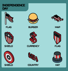 independence day color outline isometric icons vector image