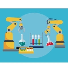 Industrial robotic arm chemical test tube vector
