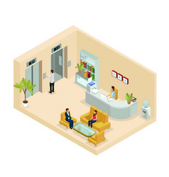isometric office hall concept vector image