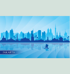 jakarta city skyline silhouette background vector image