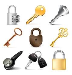 Keys and locks icons set vector image