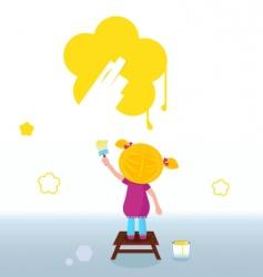 kid painting flower vector image