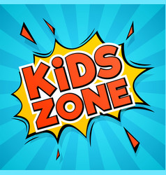 kids zone abstract colors cartoon children logo vector image