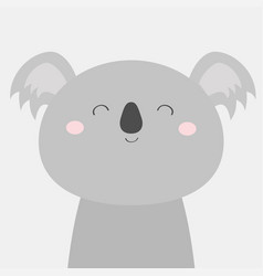 koala bear face head icon kawaii animal cute vector image