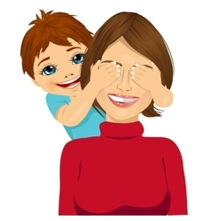 little son covering her happy mother eyes vector image