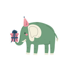 Lovely elephant wearing party hat with gift box vector