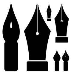 Old ink pen nibs vector