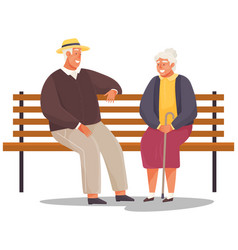 Old woman and man are resting sitting and talking vector