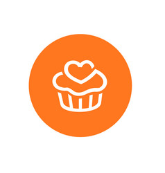 orange color cupcake icon combined with circle vector image