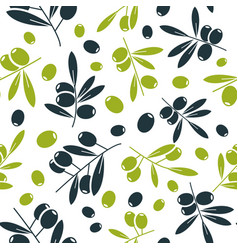 organic olive flat seamless pattern vector image