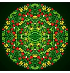 Ornate strawberries round pattern vector