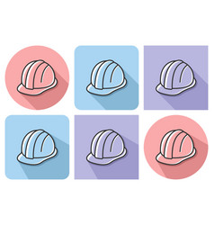 outlined icon of construction safety helmet with vector image