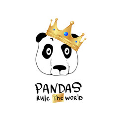 pandas rule the world slogan print vector image