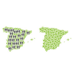 Population and plantation spain map vector