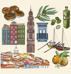 Portugal icon set lisbon and porto drawings vector