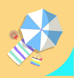 poster of beach and various objects around vector image