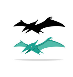 pterosaurs flying dinosaur on white art vector image