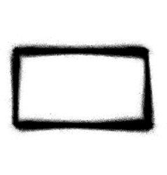 Rectangular graffiti thin sprayed icon in black vector