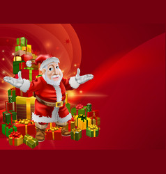red cartoon santa background vector image