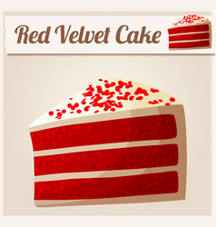 red velvet cake detailed icon vector image