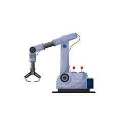 Robotic arm with claw automated computer device vector