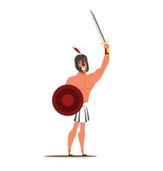 Roman empire warrior flat character isolated on vector