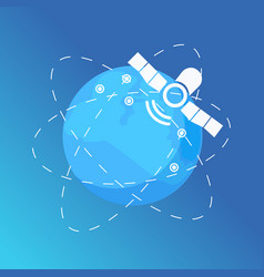 satellite and globe with lines global services vector image