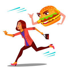 Scared woman runing away from hamburger vector