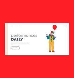 Scary clown with balloon landing page template vector