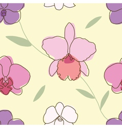 Seamless of floral pattern orchids vector image