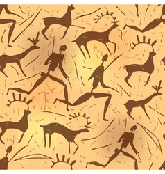 Seamless ornament African petroglyphic art old vector image
