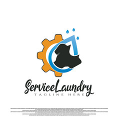 Service laundry logo with clothes wash and gear vector