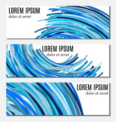 Set of blue abstract header banners vector