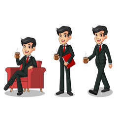 Set of businessman in black suit making a break vector
