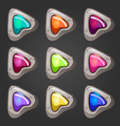 Set of stone pointers with inlaid gems vector