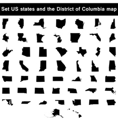 set of US states maps vector image